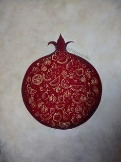 Shabe Yalda Pomegranate Painting - Persian Yalda Night art