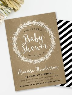 Rustic Winter baby shower invitation for a black and gold baby shower