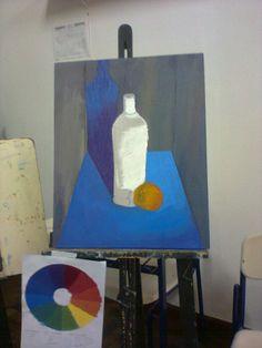 pintura de modelo com tintas acrílicas nas cores primárias e branco