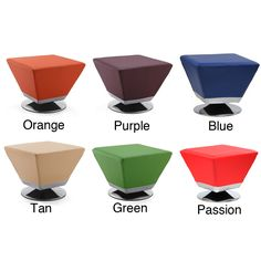 Complete your modern home with this fashion-forward, cube leatherette ottoman. Made with a silvertone metal base and upholstered with faux leather, this ottoman is available in several bold colors including green, purple, orange, and tan.