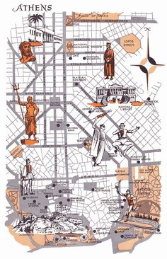 Old Map of Athens, Greece