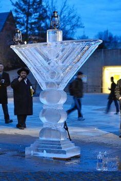 Carved ice Menorah