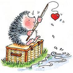 penny black rubber stamp hook, line & sinker Hedgehog Drawing, Hedgehog Art, Cute Hedgehog, Penny Black Karten, Penny Black Cards, Hedgehog Illustration, Cute Illustration, Cute Images, Cute Pictures