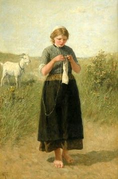 """""""Young Girl Knitting"""" by David Adolf Constant Artz"""