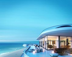 """Foster + Partners makes design for 18-story luxury apartment building Faena House along Miami Beach featuring """"large wrap-around terraces that dissolve the boundary between inside and outside, creating 'verandas in the sky:'"""" http://www.archello.com/en/project/faena-house #Architecture #Design #Sky"""