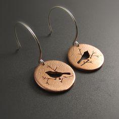 Snowy Songbird Copper Earrings