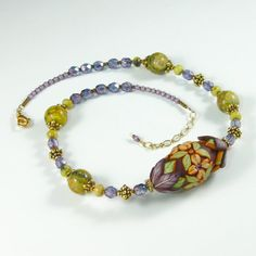 Polymer Clay Floral Bead Necklace Chocolate by KateTractonDesigns, $130.00