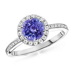 Angara Diamond Border Tanzanite Solitaire Wedding Ring in 14k Yellow Gold