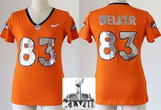 Women Nike Denver Broncos 83 Wes Welker Orange Handwork Sequin lettering  Fashion 2014 Super Bowl XLVIII
