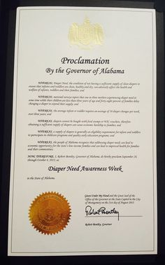Alabama Governor Robert Bentley's proclamation recognizing Diaper Need Awareness Week (Sept. 28 - Oct. 4, 2015) #DiaperNeed www.diaperneed.org