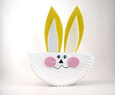 folded paper plate easter bunny - easy craft for a group of kids