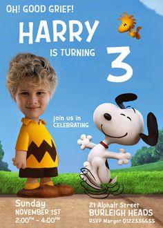 CHARLIE BROWN PARODY Invitation, Charlie Brown Invite, Peanuts Movie birthday…