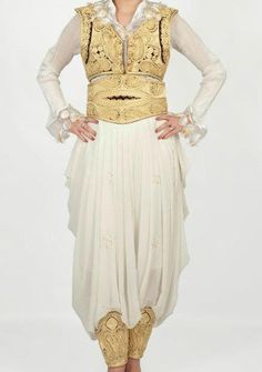Traditional bridal clothing, dimija (trousers), jeleka (vest) and dallama (long vest) in Albanian, are worn by brides all around the Balkans.