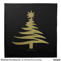Christmas Tree Stencil Gold Cloth #Napkins #Christmas #HomeDecor #HolidayGifts #Gifts #Shopping