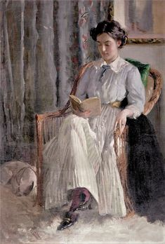 "Carl Theodor von Blaas ~ (Austrian: 1886-1960) ~ ""Woman Reading"""
