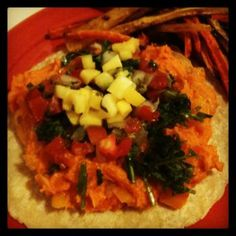 Sweet Potato Tacos from our February VegCookbook, Color Me Vegan.