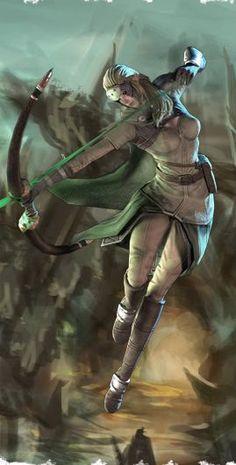 f High Elf Ranger Med Armor Longbow urban rooftop street desert High Fantasy, Fantasy Women, Medieval Fantasy, Fantasy Girl, Angel Warrior, Fantasy Warrior, Woman Warrior, Character Concept, Character Art