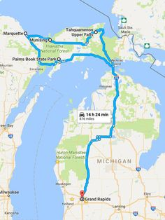 Family trip includes Marquette, Pictured Rocks and waterfalls in this Michigan vacation plan for kids in the Upper Peninsula. Michigan Vacations, Michigan Travel, Vacation Trips, Day Trips, Munising Michigan, Traverse City Michigan, Lake Michigan, Wisconsin, Us Road Trip