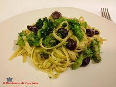 Linguine con Broccoli, Olive e Pecorino