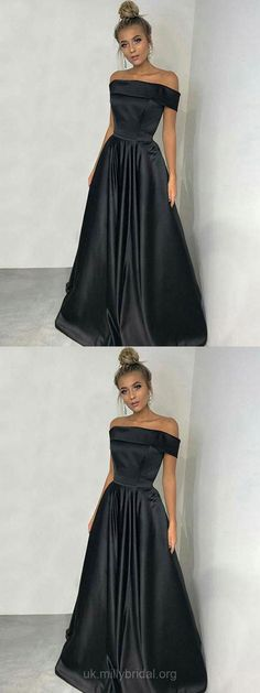 Black Prom Dresses, Long Prom Dresses, Formal Prom Dresses for Teens, A-line Graduation Dresses Off-the-shoulder #blackdress
