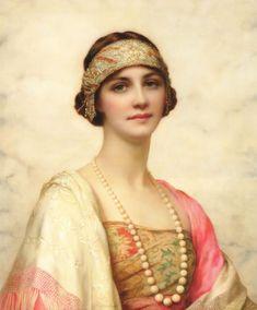 William Clarke Wontner (British 1857–1930) [Portraits, Academicism, Classicism, Romanticism] An Elegant Beauty, 1920.