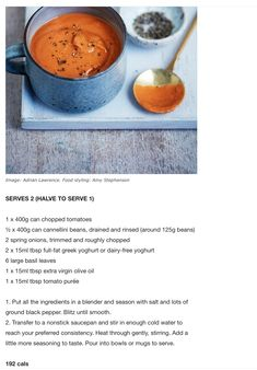 Low calorie Tomato soup recipe from Michael Mosley's Fast 800 Diet - The Mail on Sunday - You Magazine, The Daily Mail. Tomato Soup Recipes, Diet Soup Recipes, Healthy Recipes, Healthy Breakfasts, Detox Recipes, Recipes Dinner, Healthy Snacks, 800 Calorie Diet Plan, 800 Calorie Meal Plan