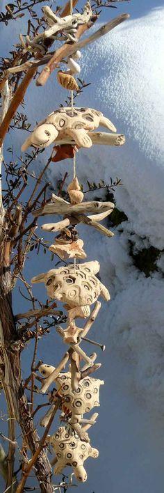 Fensterhänger Schildkröten im Schwemmholz - Keramik