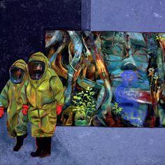 Gabriele Strehlau, Vorsicht Natur, Öl auf Nessel, 80 x 80 cm, 2007, unverkäuflich