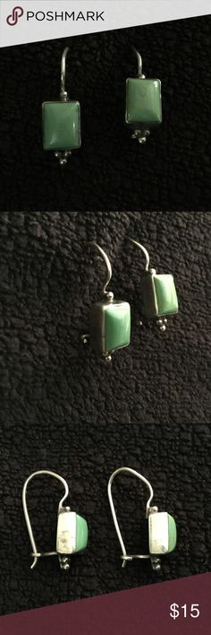 """Sterling silver green turquoise earrings Very nice Sterling silver green turquoise drop down earrings.  They are marked 925 with a makers mark. They hand down approximately 1/2"""". Jewelry Earrings"""