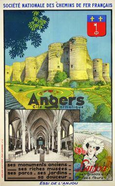 Affiche  Angers Cité Artistique   Chemin de Fer Français   Circa 1930  Anonyme