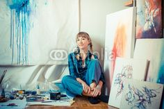 beautiful blonde woman painter  BUY IT FROM $1