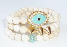 Beaded Bracelet Set of Semiprecious Gemstone with by rockstarsz, $69.99