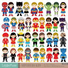 36 chicos superhéroes trajes Imágenes Prediseñadas por LittleMoss