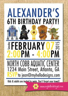 Perfect for a boy or girl (both blue & pink versions are available!)  Printable Star Wars Inspired Invitation - Jedi Invite DIY boy girl knight darth vader r2 d2 yoda c-3po invite card printable birthday by #MyHelloDesigns