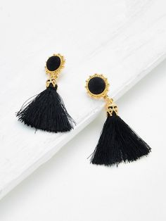 Gemstone. Gold colored metal. Dangle Perfect choice for Vintage, Boho wear. Designed in Black.