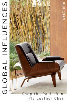 Taking inspiration from Brazilian mid-century designs, the Paulo Bent Ply Leather Chair combines comfort with bold contemporary forms. Its angular back and arms are complemented by smooth curves, then softened with top-grain leather arm pads and a cushy back for sink-right-in support. Find it today at west elm.