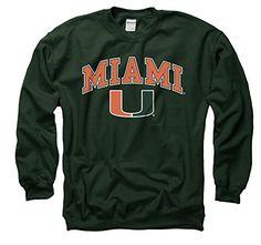 Miami Hurricanes Arch with Logo Crewneck (Green, Medium) ...
