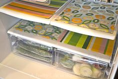 Use plastic place mats to line your fridge. When there's a spill, just pull out the place mat to clean it.