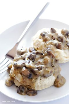 Biscuits and Mushroom Gravy -- simple to make, naturally vegan, and so comforting and delicious! | http://gimmesomeoven.com
