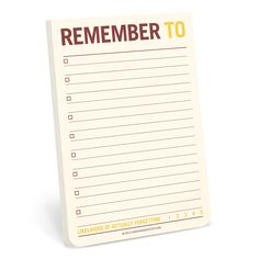 Remember To Jumbo Sticky Notes by Knock Knock - knockknockstuff.com