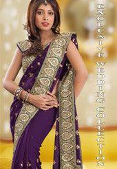 Shop for Designer Indian Wedding Sarees Online I Utsav Fashion Wedding Sarees Online, Saree Wedding, Reception Sarees, Georgette Sarees, Floral Motif, Deep Purple, Ethnic, Your Style, Sari