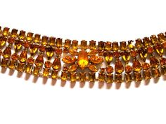 Wide Rhinestone Bracelet Amber Honey Topaz Large by VisionsOfOlde