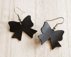 Black rubber bow earrings,  spey lightweight!  Handmade from upcycled bicycle inner tube.