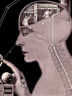 The workings of the nervous system.Fritz Kahn.Kahn was writing in the 1920s, a period in of great industrial and technological change.The image above, by the artist Fritz Kahn, shows the nervous system as a complex electronic signalling system, complete with buttons, charts and busy workers. Fritz Kahn's books and illustrations explored the inner machinery of the human body, using metaphors of modern industrial life.