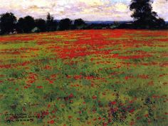 Red Poppies (William Wendt - circa 1898). Oil on canvas.