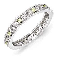 Stackable Expressions Sterling Silver Peridot Ring. Sale Priced At $50.  Sizes 5-6-7-8-9-10.