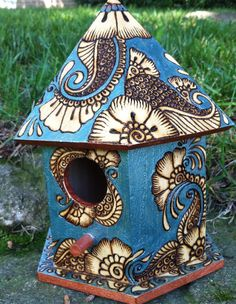 Birdhouse in Pyrography, with Acrylic Accents by http://parizadhe.deviantart.com on /deviantart/