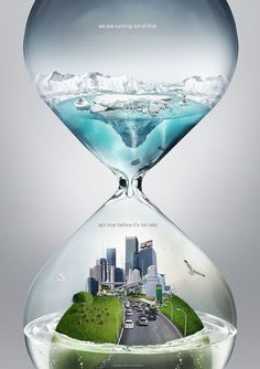 VISUAL VERBAL CONNECTION - the design is really eye-catching  while making the point even stronger, since it shows the message that global warming is affecting the environment and shows the concept of time.  This would be great for something related to time, like tests,  college applications, deadlines, etc.