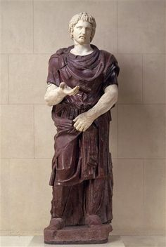 Captured barbarian, Roman statue (marble, porphyry), 2nd century AD, (Musée du…