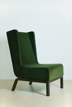 handsome side chair with emerald green suede fabric!